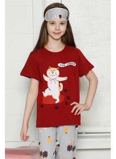 Akbeniz Çocuk Pamuk Kısa Kollu Pijama Takımı 4563 Bordo